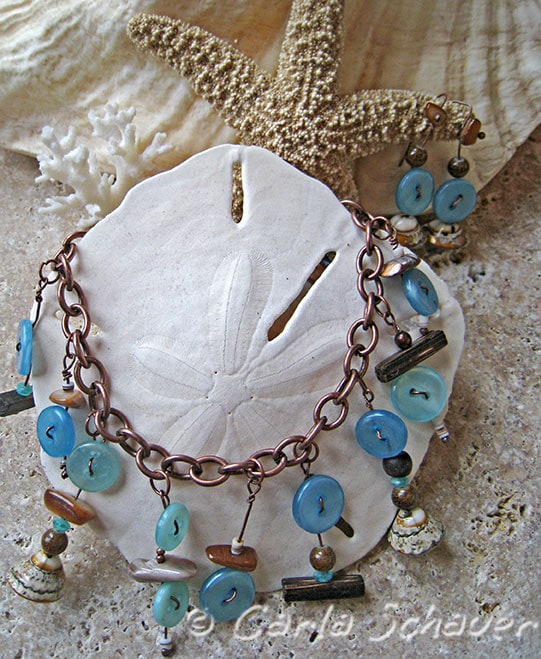 Beachy Button Bracelet and Earrings Set from Carla Schauer Designs