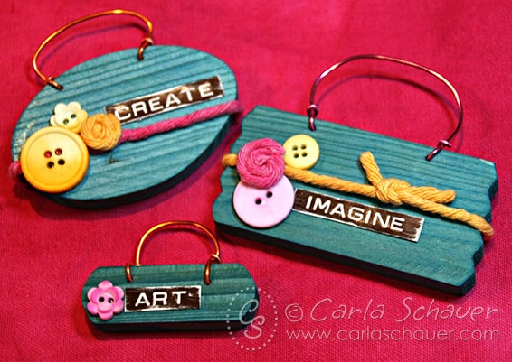 Dyed wood sign tags by Carla Schauer