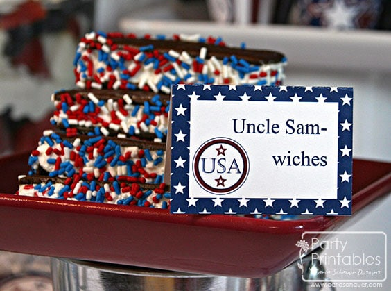 July 4th printable buffet cards