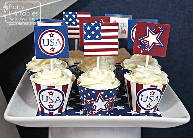 July 4th printable cupcake decorations