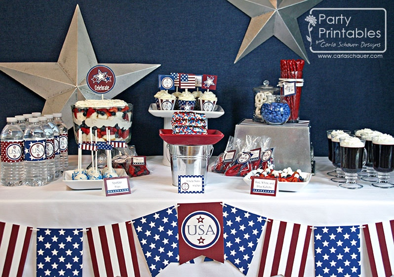 July 4th printables party dessert table