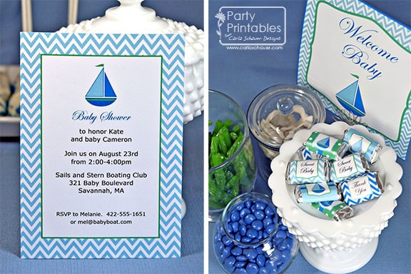 Sailboat Mom-to-Be Shower Printable Decorations