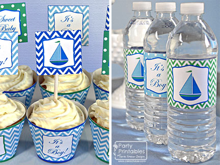 Sailboat Mom-to-Be Baby Shower Printable Decorations