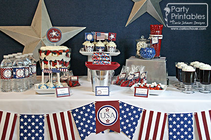 Patriotic Printable Party Supplies | Carla Schauer Designs