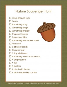 Printable Nature Scavenger Hunt Ages 3-7