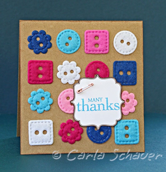 Felt Button Grid Thank You Card from Carla Schauer Designs