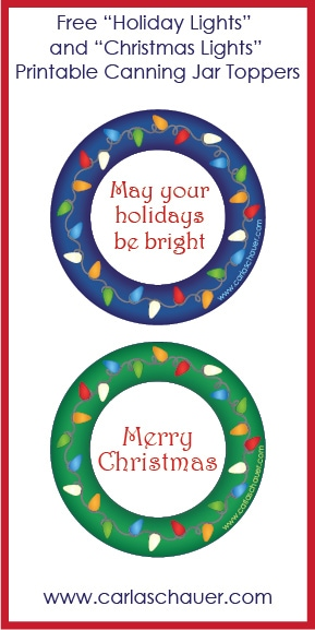 Free Printable Holiday Lights Canning Jar Labels from Carla Schauer ...