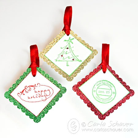 Glittered and Stamped Christmas Gift Tag Set by Carla Schauer Designs