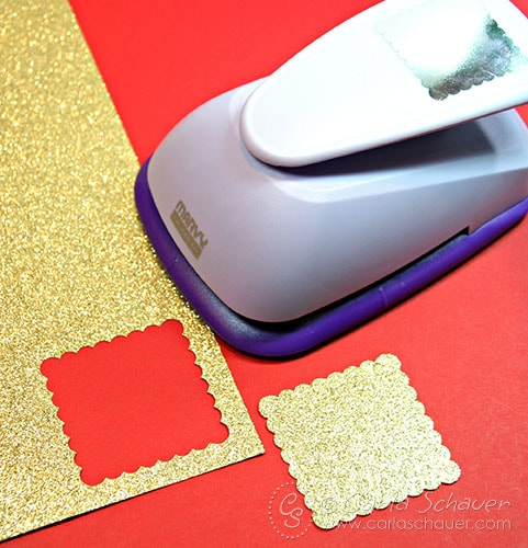 Glittered Scalloped Square gift tags from Carla Schauer Designs