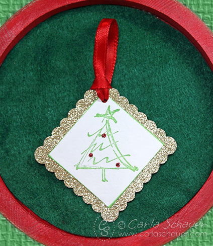 Ribbon-Tied Glittered Christmas Gift Tag by Carla Schauer Designs