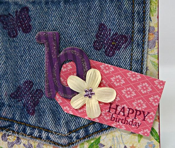 Stamped Denim Pocket Happy Birthday Tag from Carla Schauer Designs