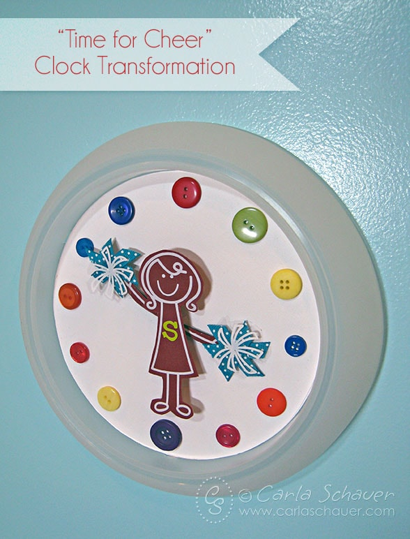 Cheer-themed clock DIY from Carla Schauer Designs