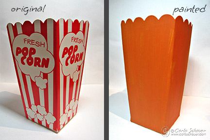 painted halloween decoration from popcorn box
