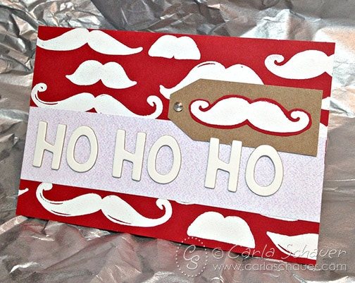 Mustache stamped Santa Christmas card, from Carla Schauer Designs