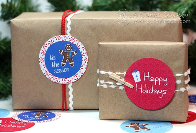 Free Printable Holiday Gift Tags from Carla Schauer Designs. Cute little gingerbread man circles.