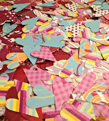 Punched hearts turned to Valentine Banner