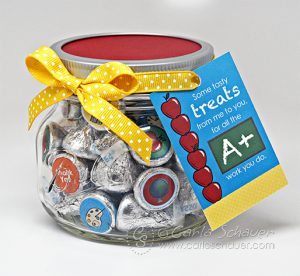 Teacher Appreciation Printables to make a cute candy jar and gift tag. From Carla Schauer Designs