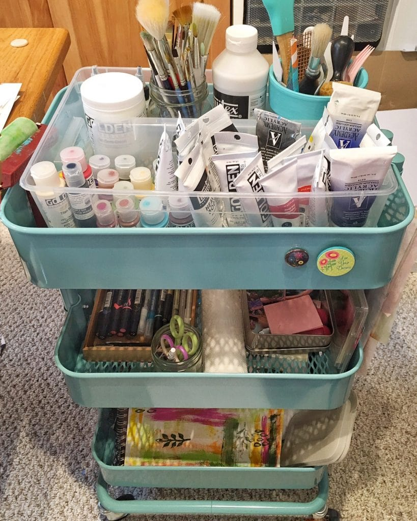 Ikea Raskog cart used for Art Supplies. Tools, paints, and sketch/art paper all in their own spaces! From Carla Schauer Designs studio.