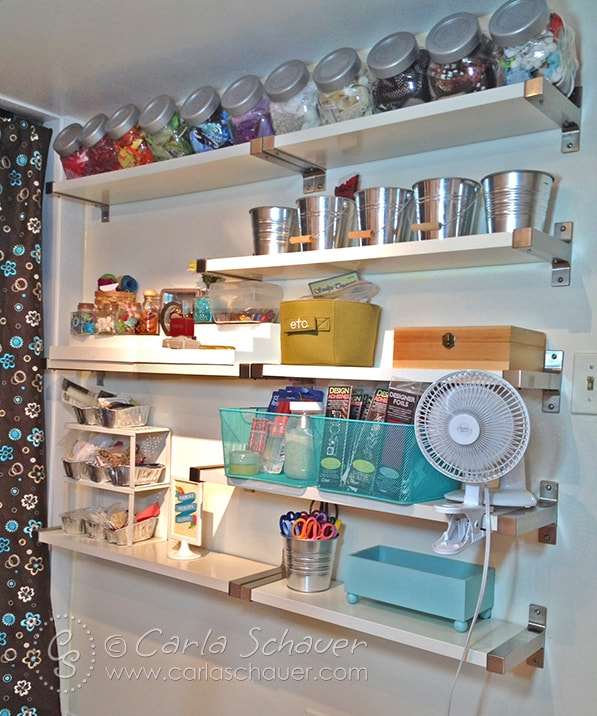 Wall of Shelves for Embellishment Storage-Carla Schauer Designs Studio