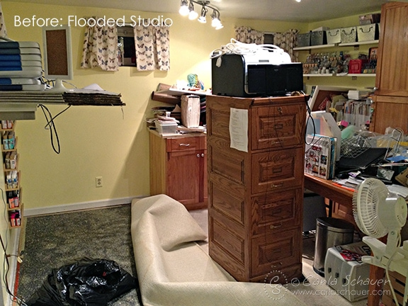 Flooded creative studio before redesign.-Carla Schauer Designs