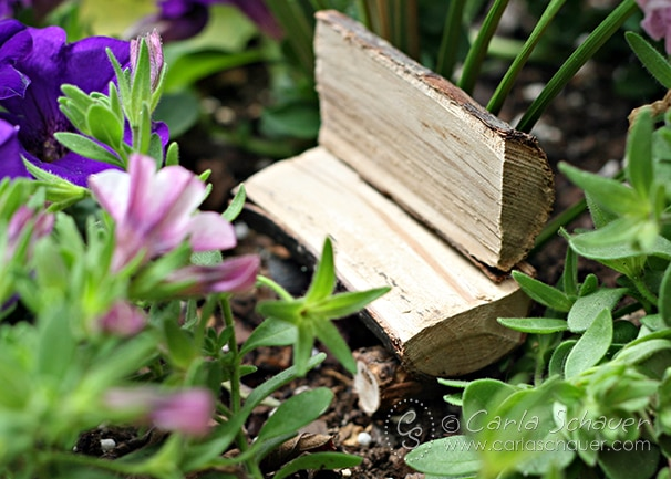 Fairy house split log bench, from Carla Schauer Designs