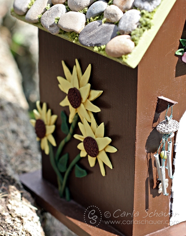 Fairy House with Clay Sunflowers, from Carla Schauer Designs