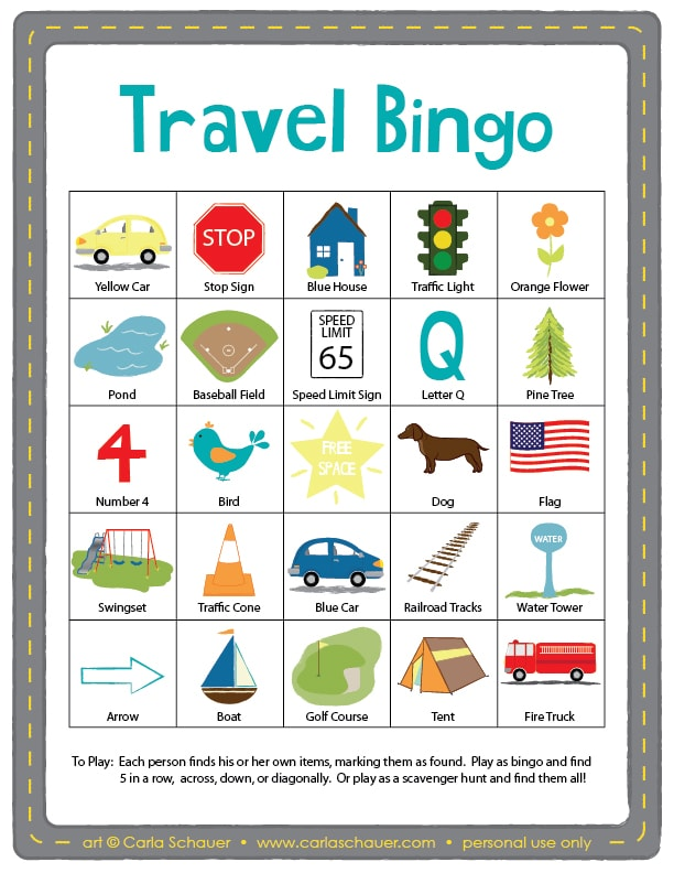 Free printable Travel Bingo for Kids from carlaschauer.com
