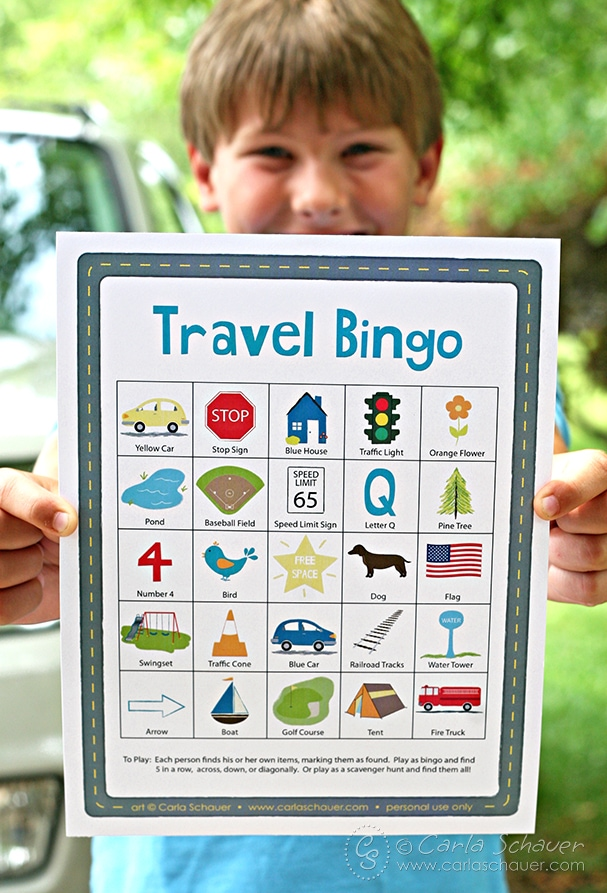 Free printable travel bingo game for kids from carlaschauer.com