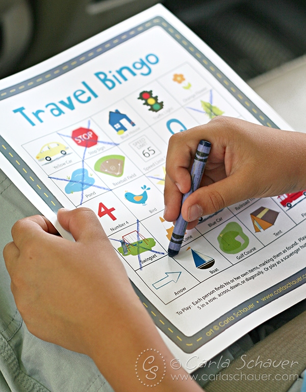 Use printable Travel Bingo to entertain younger children on road trips. Free from carlaschauer.com