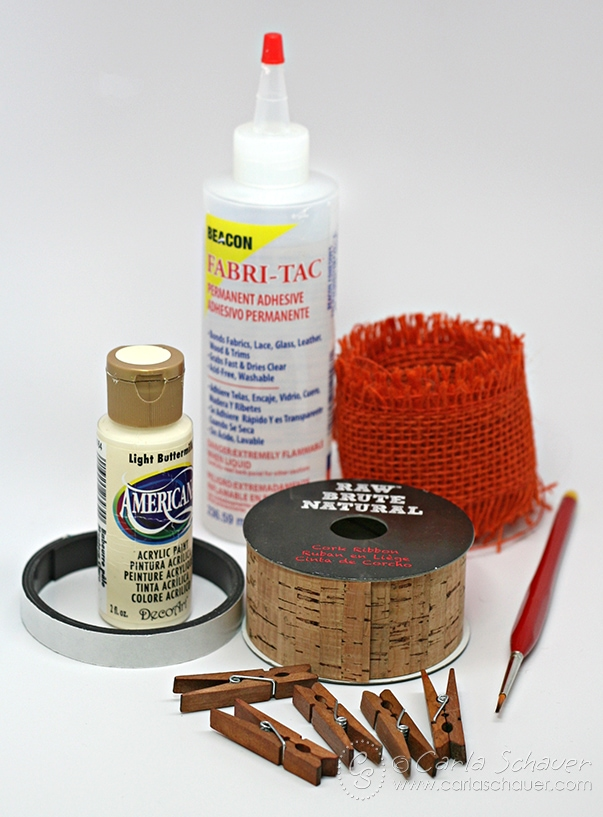 Main supplies to make a painted min clothespin magnet set.  Tutorial from Carla Schauer Designs