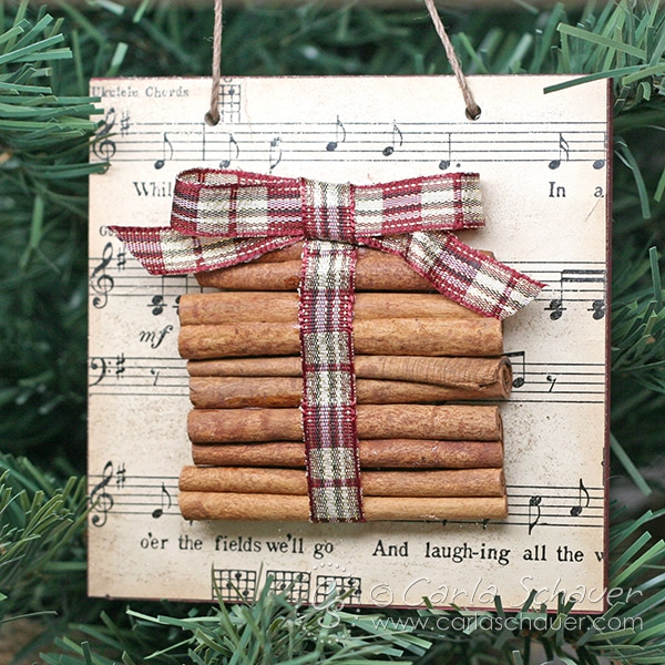 Sheet music and cinnamon stick ornament.  Tutorial from carlaschauer.com