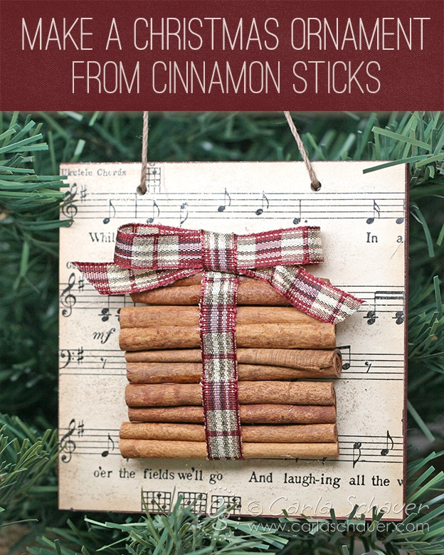 Make a Christmas ornament with cinnamon sticks.  Tutorial from Carla Schauer Designs.
