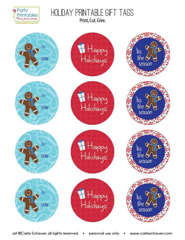 Free Holiday gift tag printables from carlaschauer.com.
