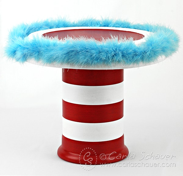 Dr. Seuss-inspired cake stand, DIY tutorial from Carla Schauer Designs blog.