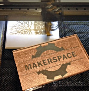 Laser engrave designs on wood, glass or acrylic. Tour a MakerSpace with Carla Schauer Designs.