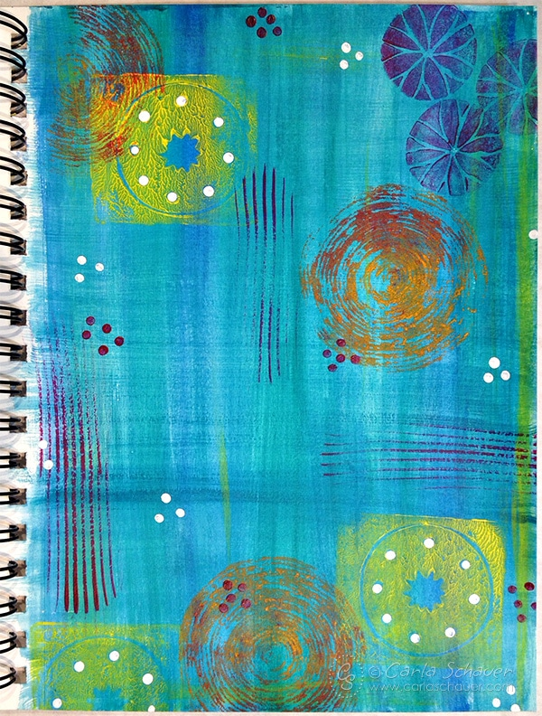 Stamping with acrylic paints and found objects|Carla Schauer Designs art experiment blog series.