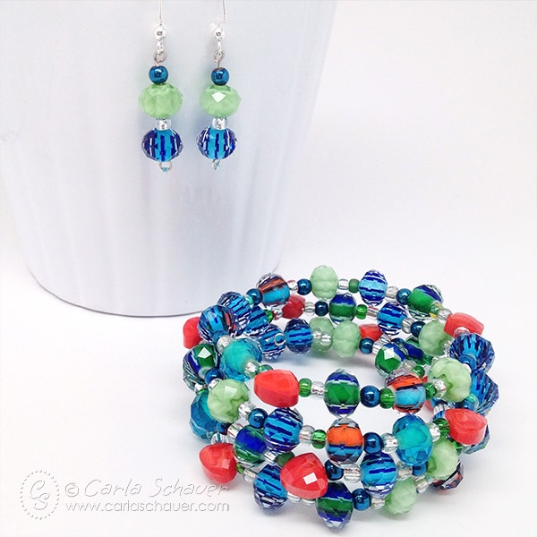 Beaded Memory Wire Bracelet and Earring Set by Carla Schauer Designs.  Tutorial on carlaschauer.com.
