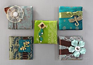 Fabric magnets made from craft stash by Carla Schauer.