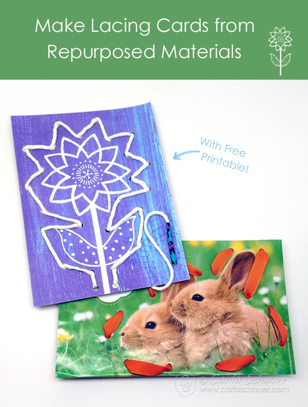 Make lacing cards using repurposed printables and magazine images. Tutorial and free printable from Carla Schauer Designs.