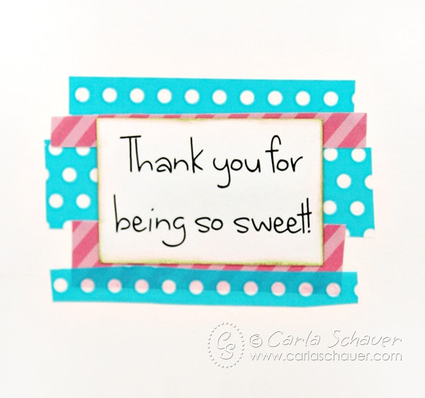 Sweet thank you greeting inside donut card. Tutorial on carlaschauer.com | Carla Schauer Designs