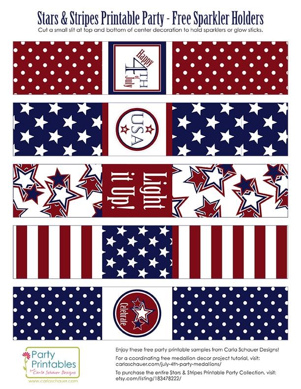 Free Printable Patriotic Sparkler Holders |Carla Schauer Designs