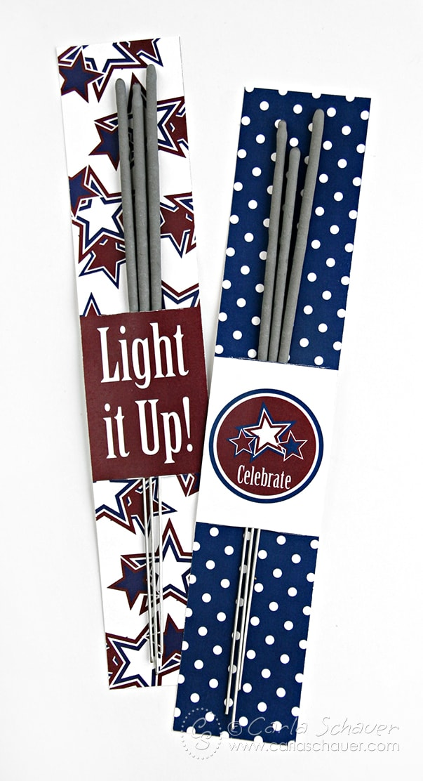 Free printable July 4th Sparkler Holders from Carla Schauer Designs. This set coordinates with another free printable patriotic project, and a full Stars & Stripes printable party!