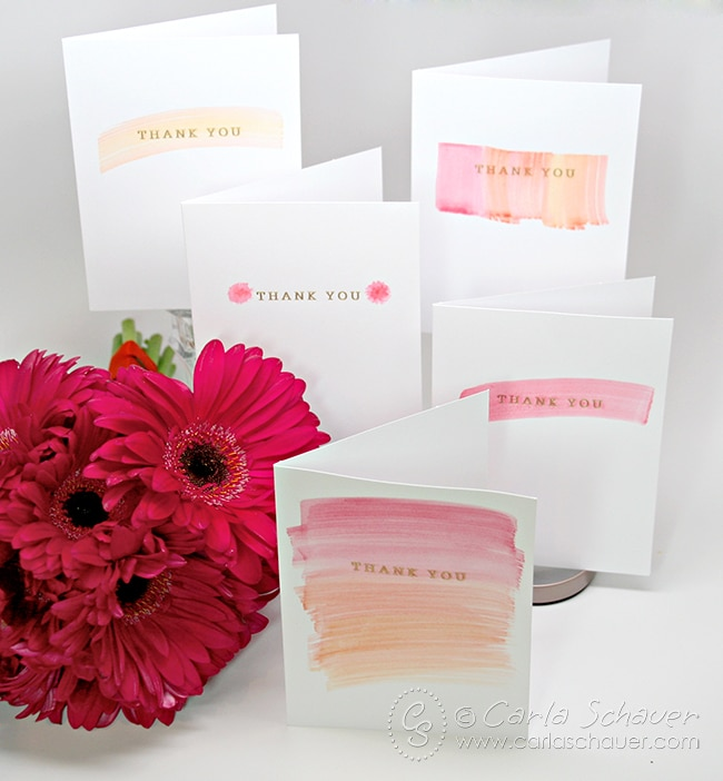 Such a pretty way to customize wedding stationery!  DIY watercolor wedding thank you notes. | Carla Schauer Designs