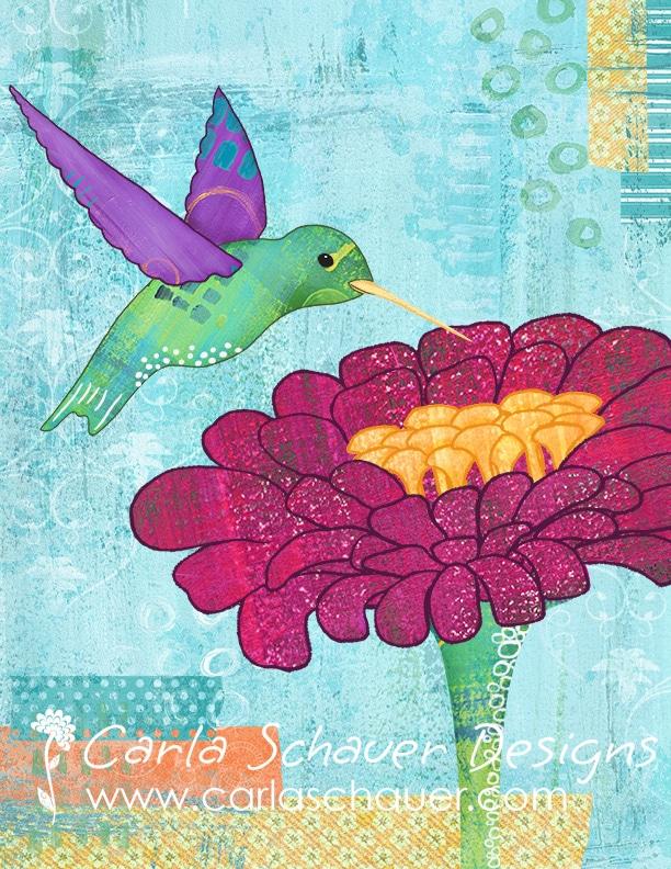 Morning Muse Hummingbird Art copyright Carla Schauer