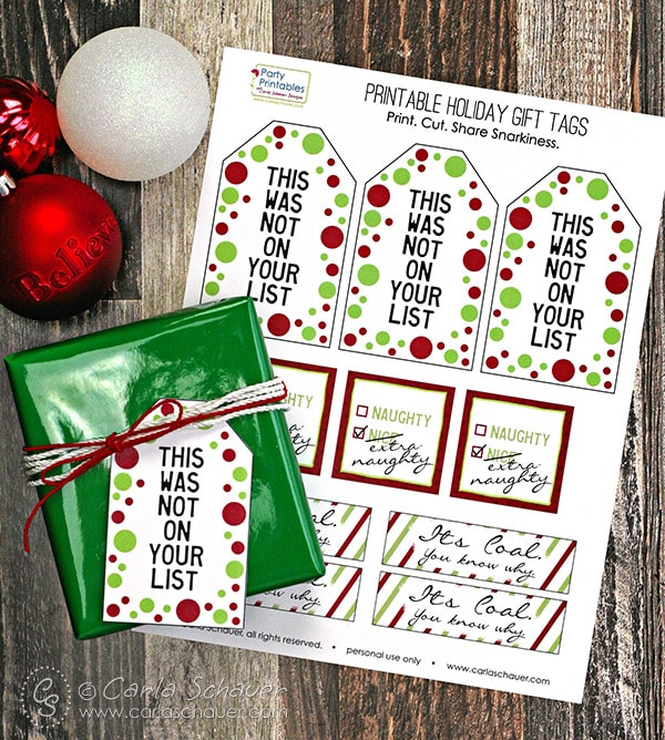 Free Printable Snarky Christmas Gift Tags |Carla Schauer Designs.