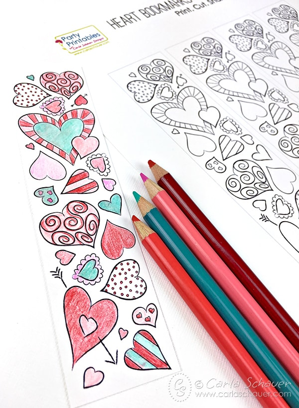 Printable Valentine Heart Bookmarks to Color |Carla Schauer Designs. Cute!