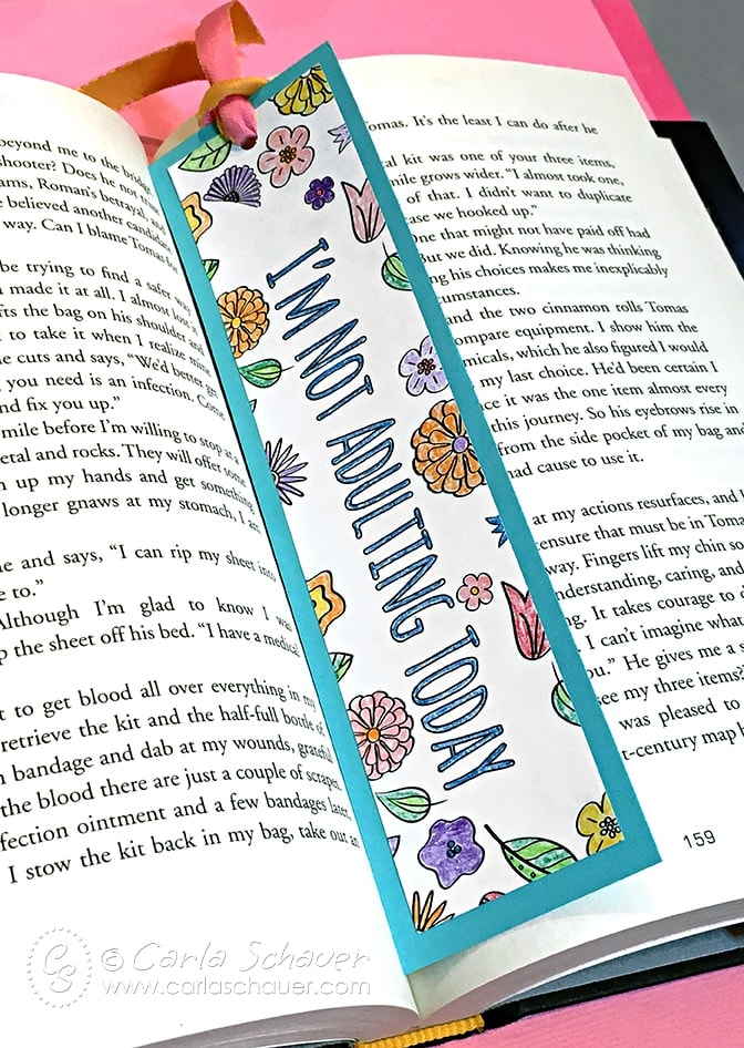 Make A Coloring Page Bookmark Using Finished Pages From Your Adult Books Instructions At