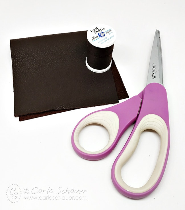 Use leather pieces to make a slim wallet. An easy 15 minute DIY gift for men.|Carla Schauer Designs