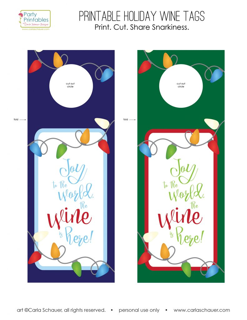 Adorable free printable Holiday wine tags. These will be perfect to add to gifts! From carlaschauer.com