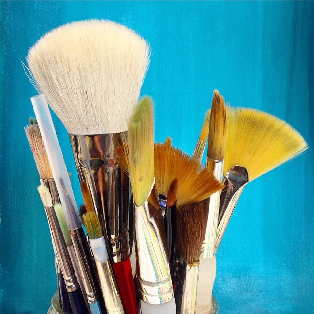 My favorite brushes to use with acrylic paint. Carla Schauer Designs